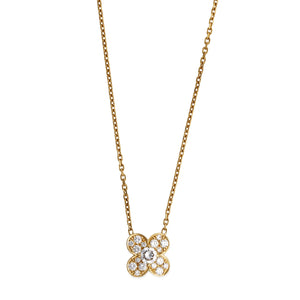 Van Cleef & Arpels 18K Yellow Gold Trefle Diamond Pendant Necklace Length: 14""