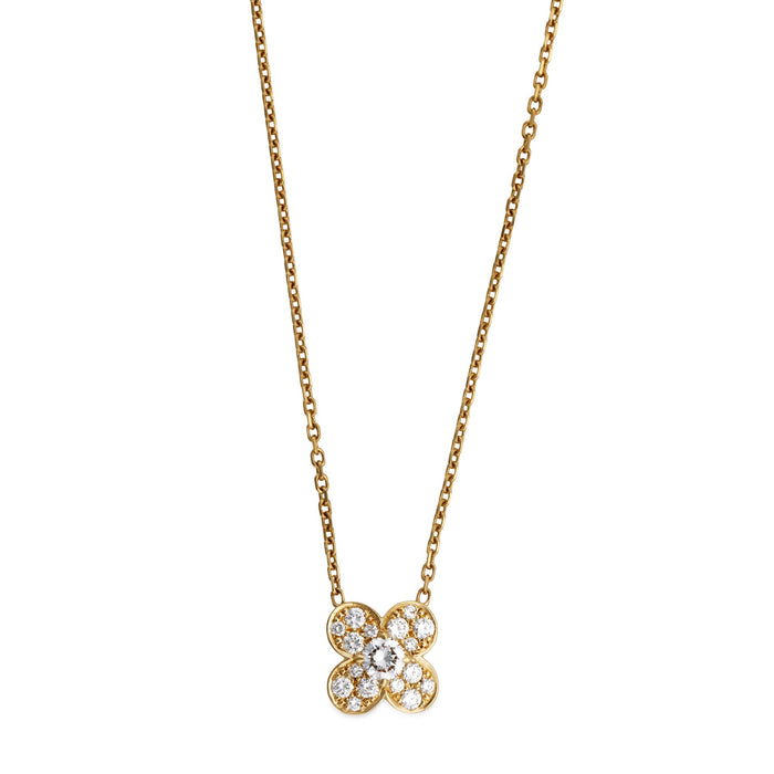 Van Cleef & Arpels 18K Yellow Gold Trefle Diamond Pendant Necklace