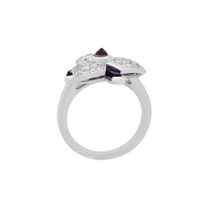 Cartier 18K White Gold Carasse D'Orchidee Amehtyst Diamond Ring Size: 4.50