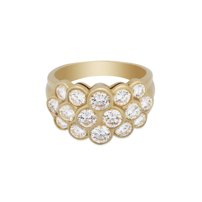 Van Cleef & Arpels 18K Yellow Gold Pave Diamond Ring Size: 7