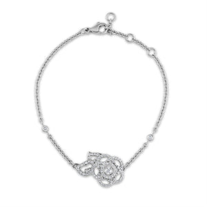 Chanel 18K White Gold Camelia Diamond Bracelet Length: 7""