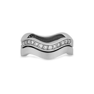 Cartier 18K White Gold 2 Row Neptune Diamond Ring Size: 6.25