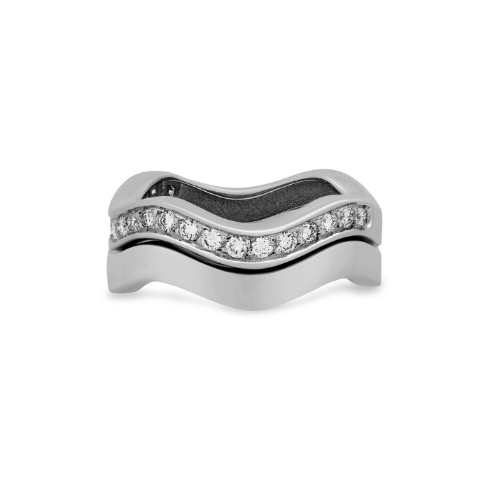 Cartier 18K White Gold 2 Row Neptune Diamond Stackable Ring Size 6.25