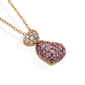 Ponte Vecchio 18K Rose Gold Double Heart Diamond and Pink Sapphire Necklace