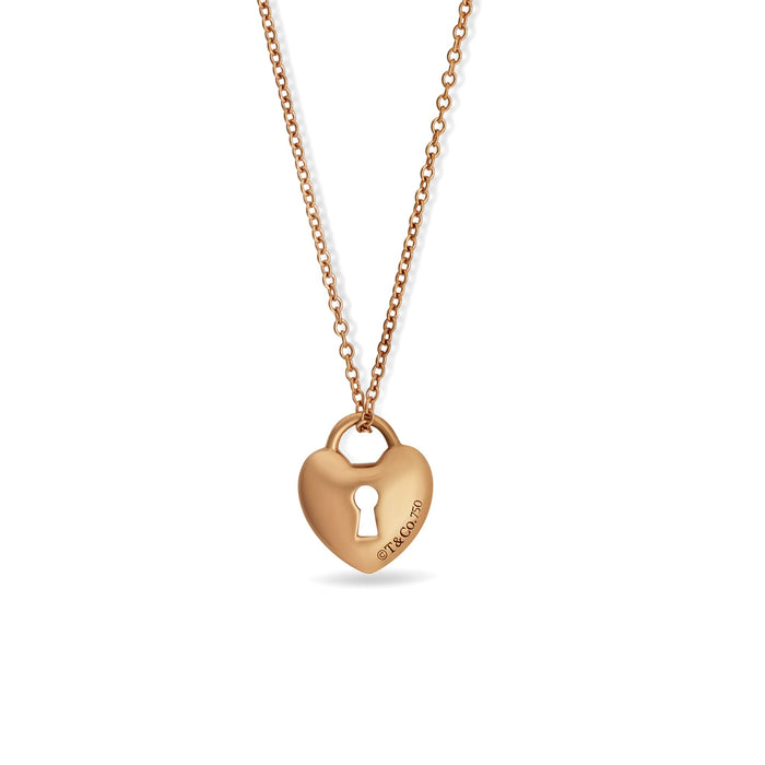 Tiffany & Co. 18K Rose Gold Lock Heart Pendant Necklace