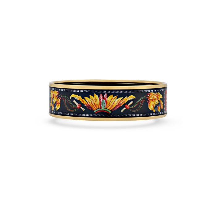 "Hermes Enamel Stainless Steel ""Brazil"" Bangle Length: 7.6"""