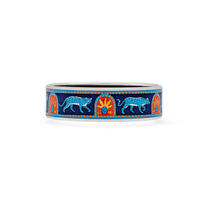 Hermes Enamel Stainless Steel Les Leopards Bangle Length: 7.7""