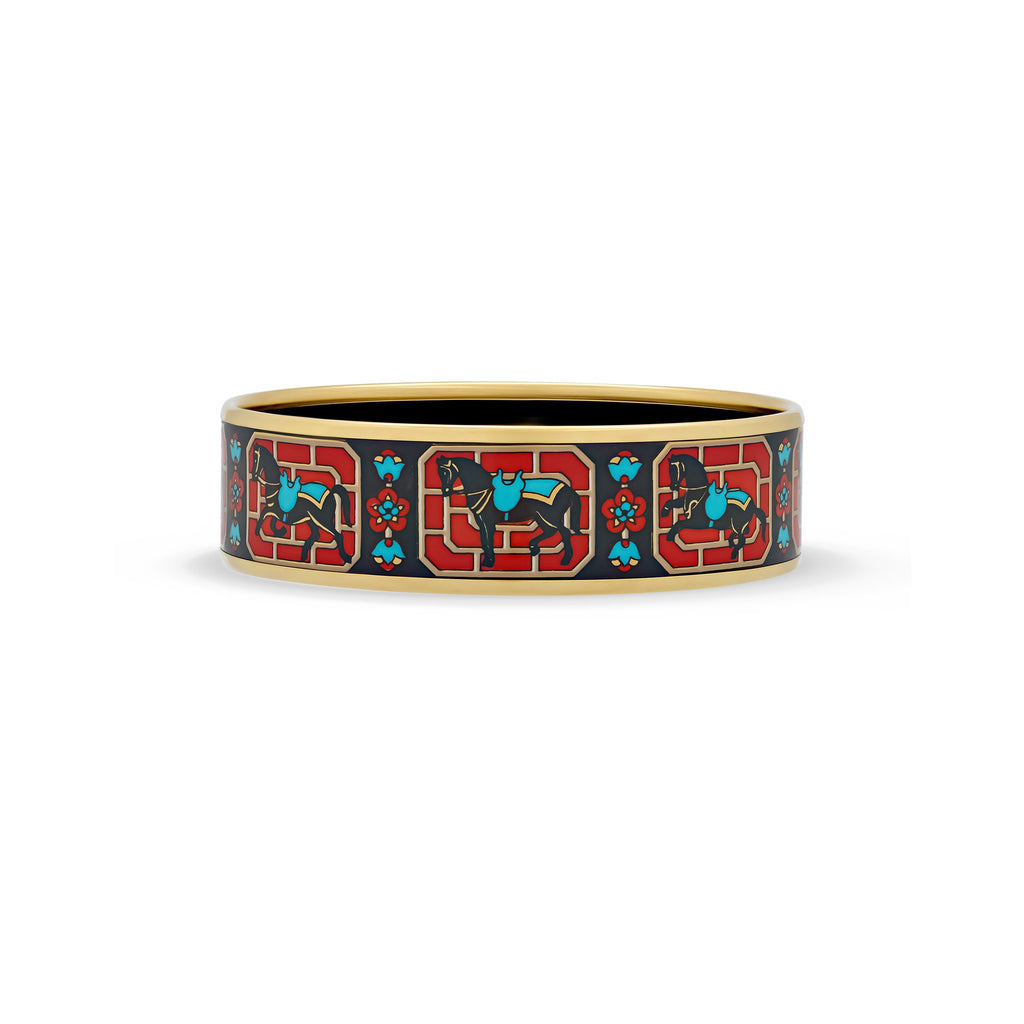 Hermes Enamel Stainless Steel Horse Bangle Length: 7.7""