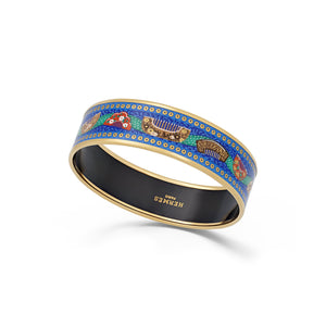 Hermes Enamel Stainless Steel MultiColor Combs Bangle Length: 8.3""