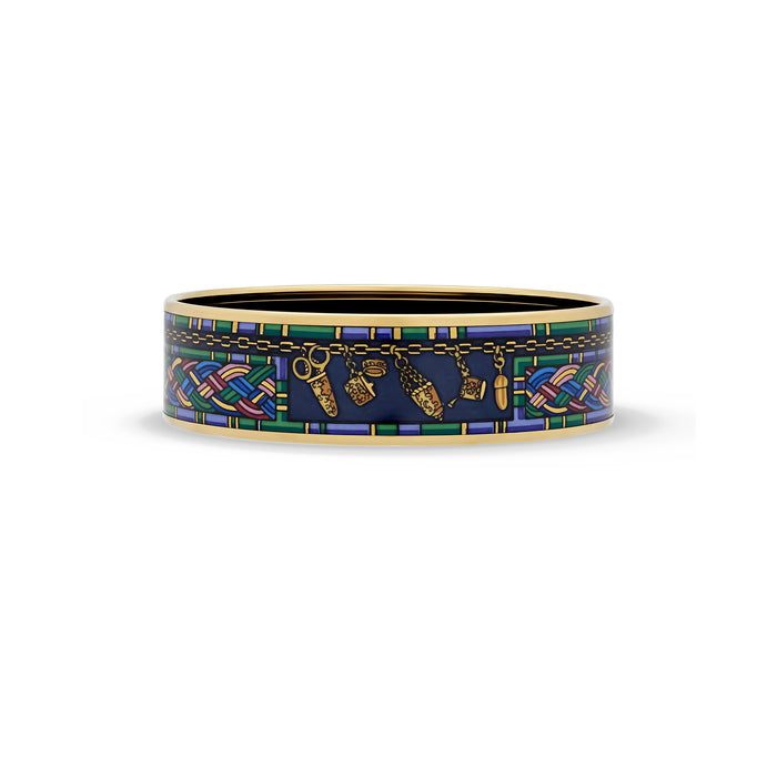 Hermes Enamel Stainless Steel Braid & Chain Bangle Length: 8.3""