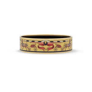 Hermes Stainless Steel Yellow Enamel Horse And Carriage Bangle
