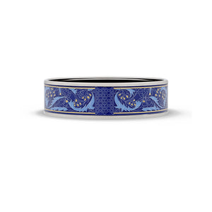 Hermes Enamel Stainless Steel Blue Leaf Bangle Length: 8.3""