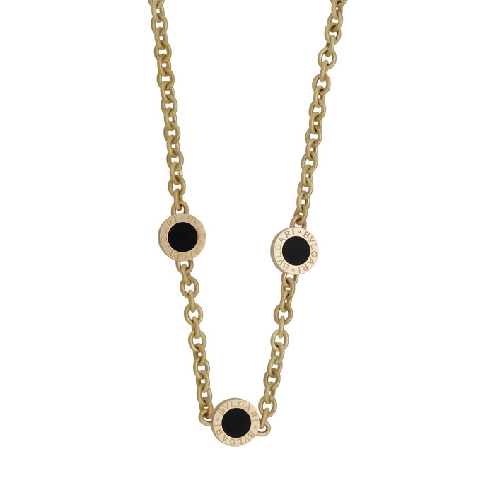 Bvlgari 18K Yellow Gold Black Onyx 3 Station Necklace Length: 15""