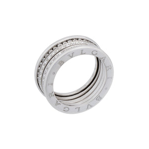 Bvlgari 18K White Gold 4 Band Diamond B.Zero Ring Size: 8