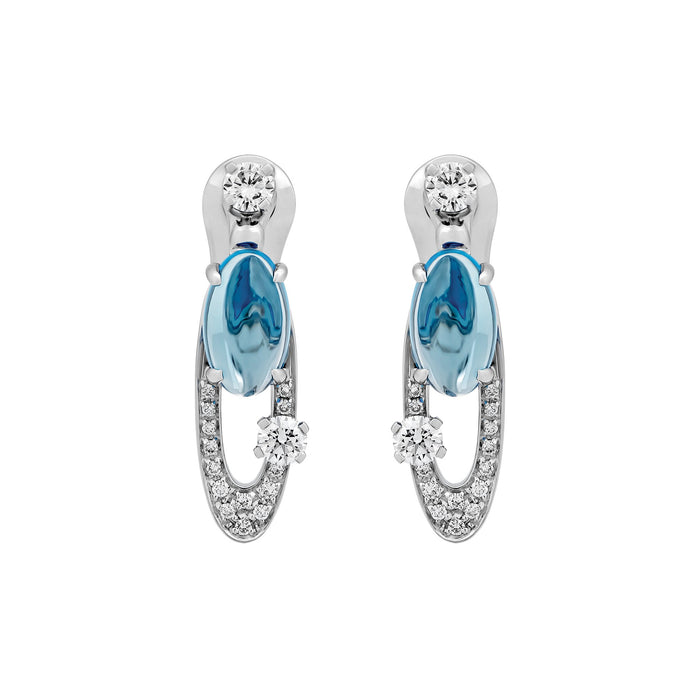 Bvlgari Elisia 18K White Gold Blue Topaz & Diamond Earrings