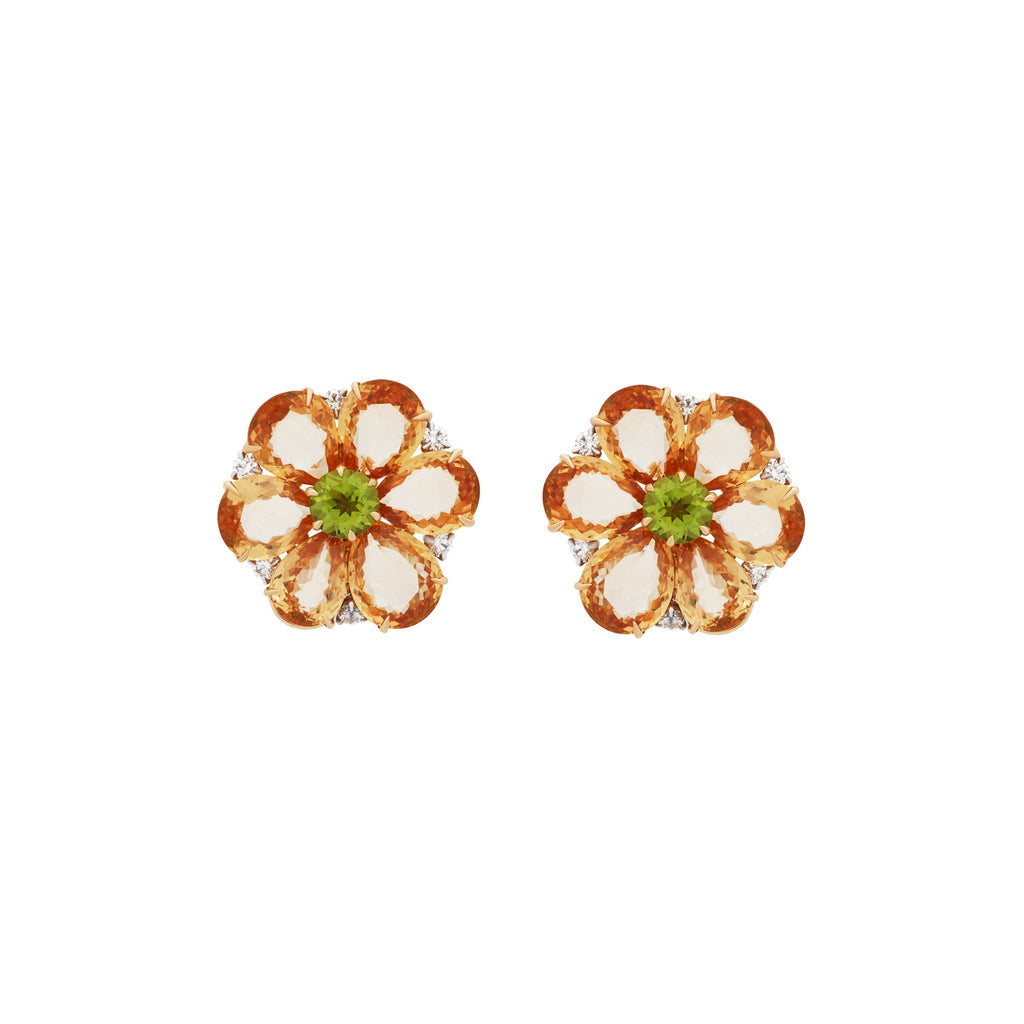 Bvlgari 18K Yellow Gold Orange Sapphire Peridot & Diamond Earrings