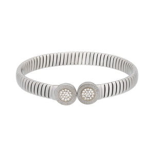 Bvlgari Stainless Steel Tubogas Open Expandable Diamond Bracelet Length: 7""
