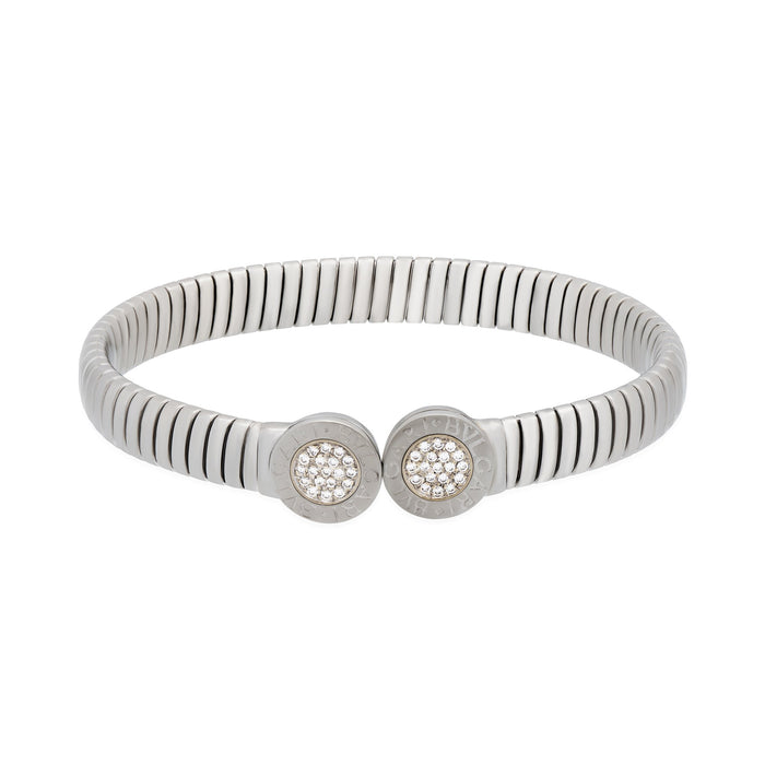 Bvlgari Stainless Steel Tubogas Open Expandable Diamond Bracelet Length 7 inches