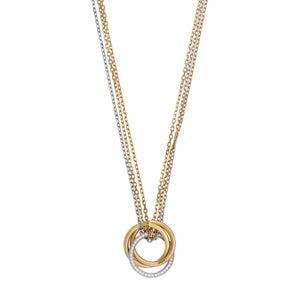 Cartier 18K Yellow, White and Rose Gold Diamond Trinity Necklace Length: 21""