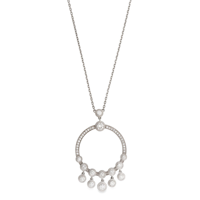 Cartier 18K White Gold Diamond Circle Necklace Length: 20""