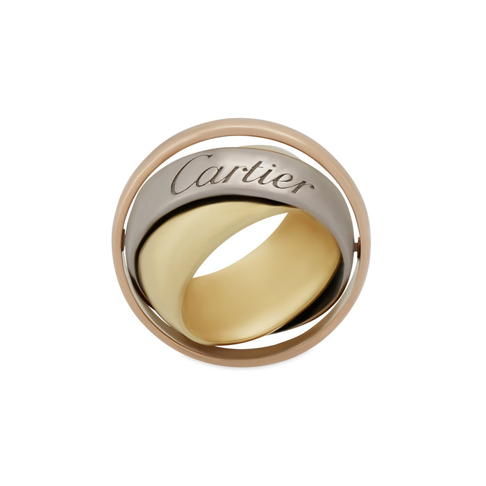 Cartier 18K Yellow, White and Rose Gold Large Trinity Pendant Ring Size: 5.25
