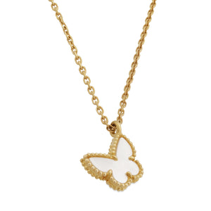 Van Cleef & Arpels 18K Yellow Gold Mother of Pearl Sweet Alhambra Butterfly Necklace Length: 16""