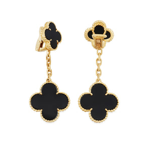 Van Cleef & Arpels 18K Yellow Gold & Black Onyx Alhambra Drop Earrings