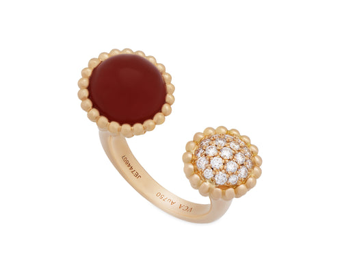 Van Cleef & Arpels 18K Rose Gold Perlee Couleurs Carnelian & Diamond Between the Finger Ring Size: 6