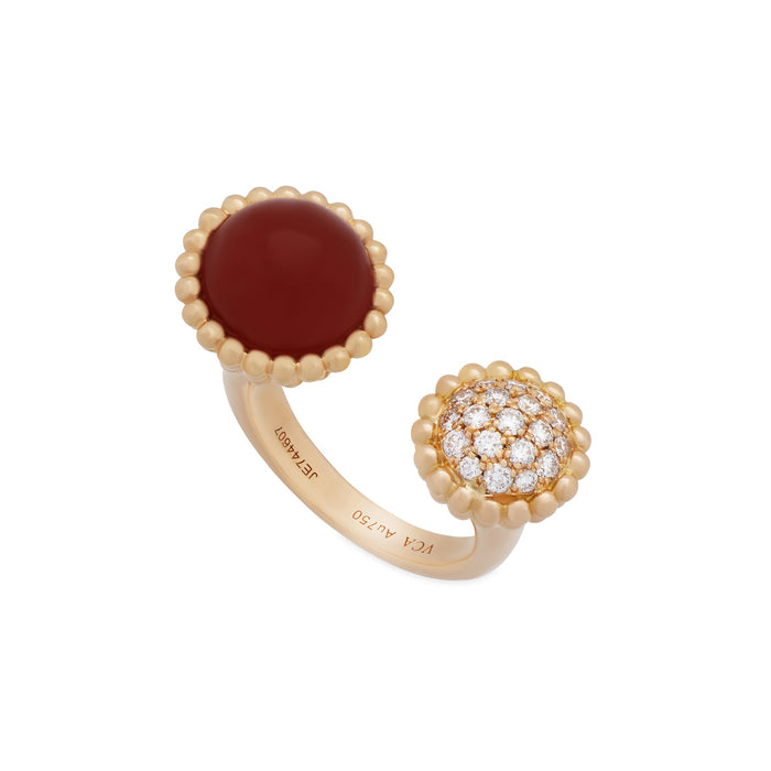 Van Cleef & Arpels 18K Rose Gold Perlee Couleurs Carnelian & Diamond Between the Finger Ring