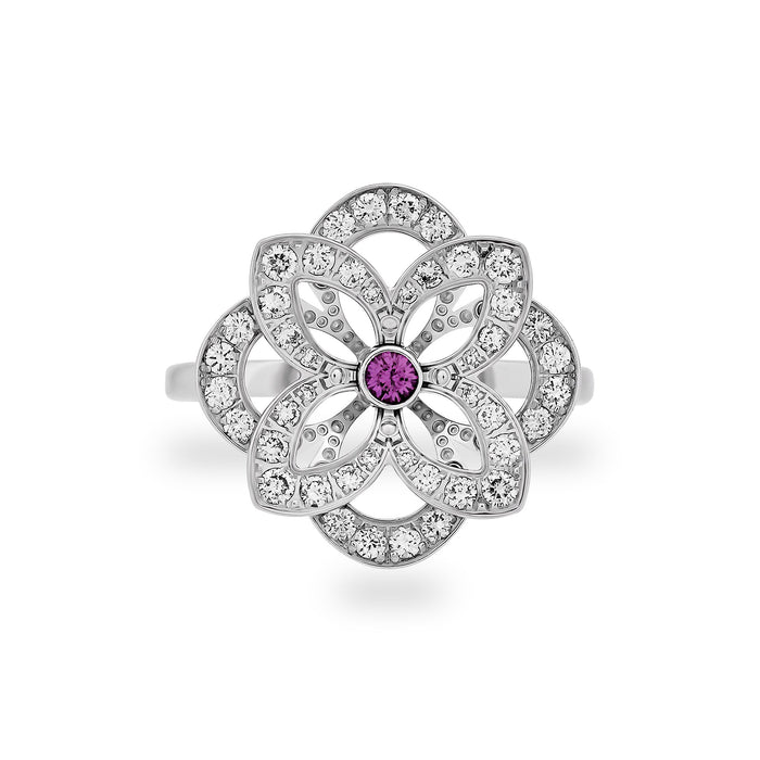 Louis Vuitton 18K White Gold Diamond & Pink Sapphire Flower Ring Size: 5
