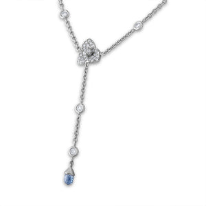 Piaget 18K White Gold Diamond & Sapphire Brioletter Necklace Length: 16""
