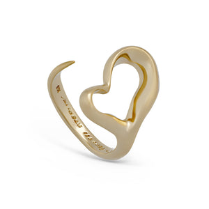 Tiffany & Co 18K Yellow Gold Elsa Peretti Open Heart Ring Size: 5.25