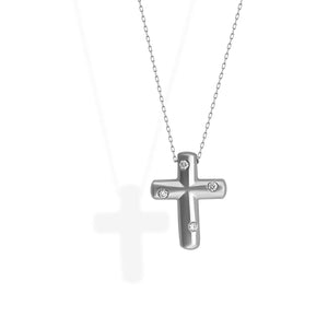 Tiffany & Co. Platinum Diamond Cross Necklace Length: 16""