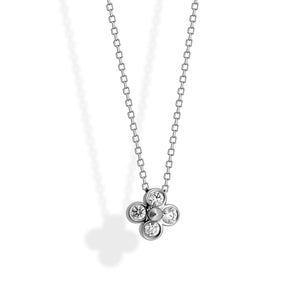 Tiffany & Co. Platinum Diamond Flower Necklace Length: 16""