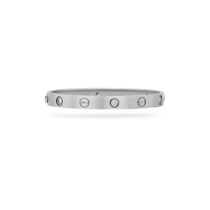 Cartier 18K White Gold 6 Diamond Love Bracelet Size 16 cm