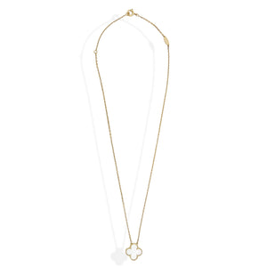 Van Cleef & Arpels 18K Yellow Gold Sweet Alhambra 1 Motif Mother of Pearl Necklace Length: 16""