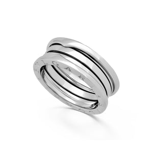 Bvlgari 18K White Gold B.Zero 3 Band Ring Size: 8.25