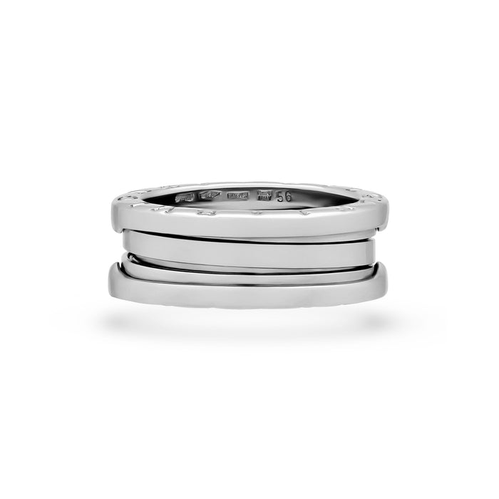 Bvlgari 18K White Gold B.Zero 3 Band Ring Size 7.25