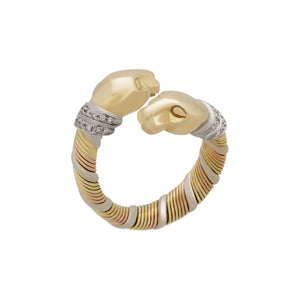 Cartier 18K Yellow, White and Rose Gold Double Panther Crossover Diamond Ring Size: 5.75