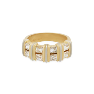 Cartier 18K Yellow & White Gold Princess Cut Diamond Ring Size: 5.75