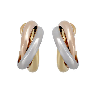 Cartier 18K Yellow, White & Rose Gold Trinity Clip On Huggie  Earrings