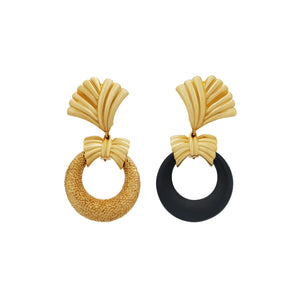 Van Cleef & Arpels 18K Yellow Gold Interchangeable Door Knocker Hoop Earrings