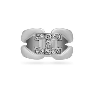 "Hermes 18K White Gold Diamond ""H"" Ring  Size: 6"