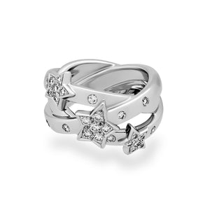 Chanel 18K White Gold Comete Crossover Diamond Ring Size: 5.25