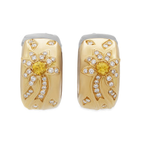 Chanel 18K Yellow & White Gold Diamond Blue & Yellow Sapphire Comete Huggie Earrings