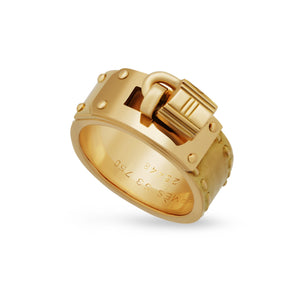 Hermes 18K Yellow Gold Belt Buckle Ring Size: 6.25