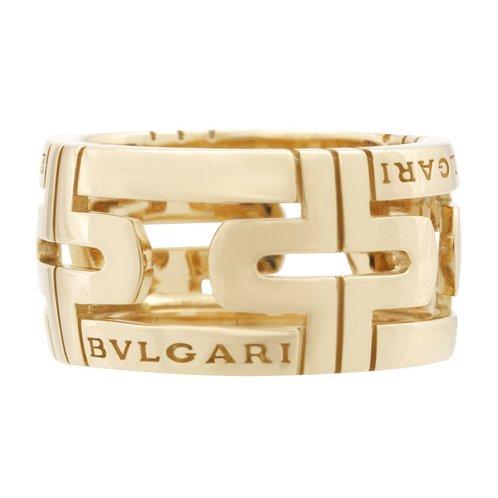 Bvlgari 18K Yellow Gold Parentesi Ring Size: 6.25