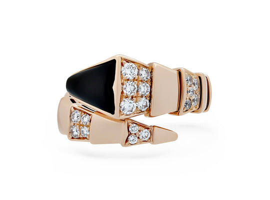 Bvlgari 18K Rose Gold Diamond Onyx Serpenti Ring Size: 5