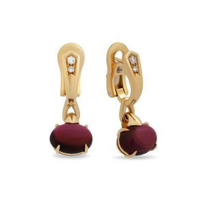 Bvlgari 18K Yellow Gold Rublite Earrings