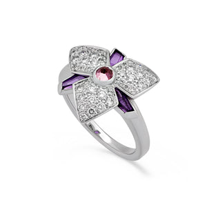Cartier 18K White Gold Amethyst & Diamond Ring Size: 5.5